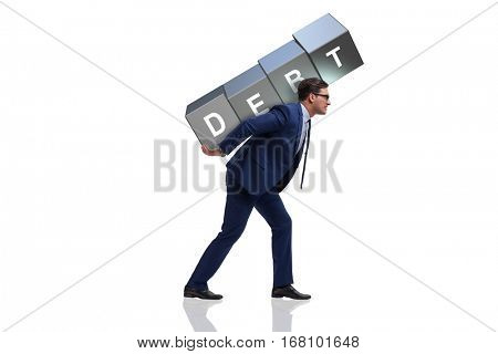 Man under debt burden isolated on white