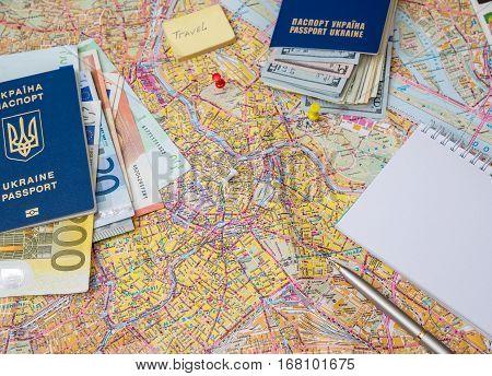 Travel or tourism concept - passport, money