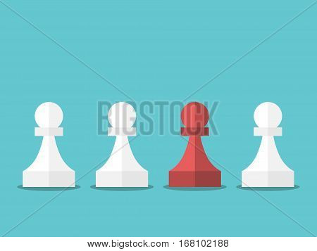 Red Unique Chess Pawn