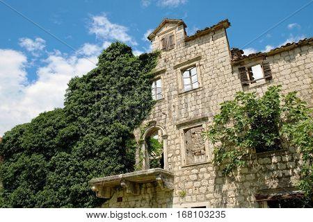 derelict stone house in Risan, Montenegro