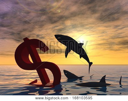 Conceptual 3D illustration bloody dollar symbol or sign sinking in water or sea, with black sharks eating, metaphor or concept for crisis in US, financial, crash, danger, business or currency designs