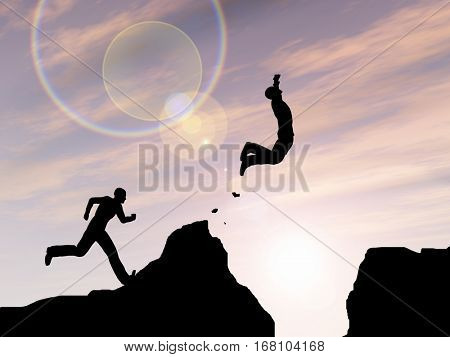 Concept or conceptual young 3D illustration man or businessman silhouette jump happy from cliff over  gap sunset or sunrise sky background for freedom, nature, mountain, success, free joy, health risk