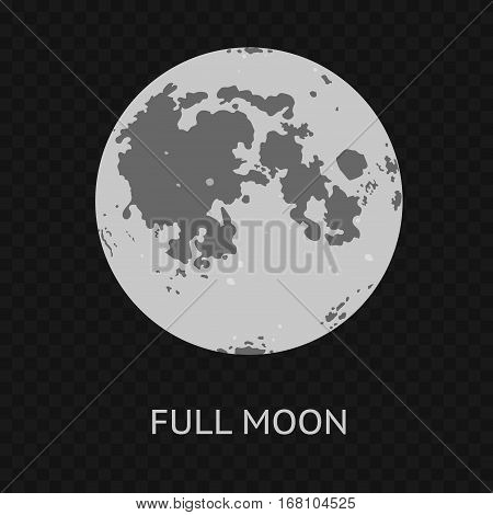 Full Moon on a Transparent Background Phase of Astronomy Cycle. Vector illustration