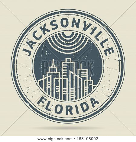 Grunge rubber stamp or label with text Jacksonville Florida written inside vector illustration