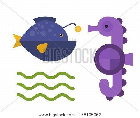Vector cute fish and sea horse creatures characters. Cartoon ocean underwater animals. Aquarium life water collection isolated graphic aquatic tropical fish.
