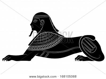 Sphinx - mythical creature of ancient Egypt on white background