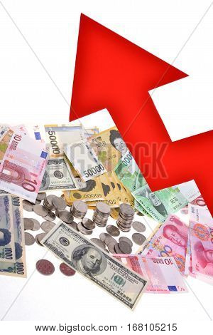 Arrow pointing to exchange rate rise, price rise