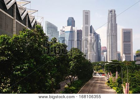 Green city of the future. City of the future. Harmony of city and nature. Sunny day in the big city.