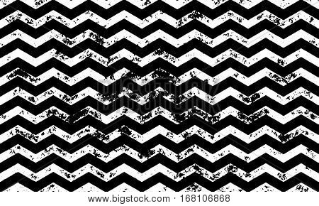 Zig zag wavy vector seamless pattern on abstract grunge wave black and white geometric lines texture for greeting card