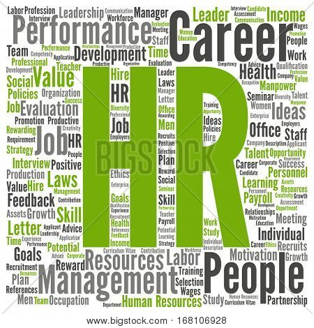 Concept conceptual hr or human resources management abstract word cloud isolated on background  metaphor to workplace, development, career, success, hiring, competence, goal, corporate or job
