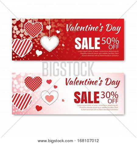 Valentine's day sale offer banner template.Shopping market poster design.