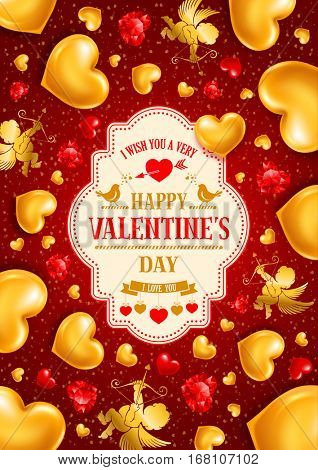 Valentines Day congratulation design with shiny and glossy golden hearts, symbol of love, cupids and diamond hearts on red background. Vector illustration.