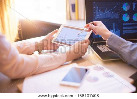 Business People Meeting Planning Analysis Statistics Brainstorming.Finance strategy statistics success concept