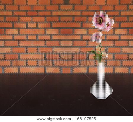 Vector illustration of pink flower in vase dot style on table and brick wall triangle pattern background
