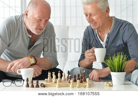 Portrait of a two old friends have fun together