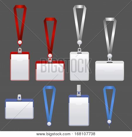 Template Badge Identification Set on a Gray Background Can Be Used for Presentation, Company or Office. Empty Mock Up. Vector illustration