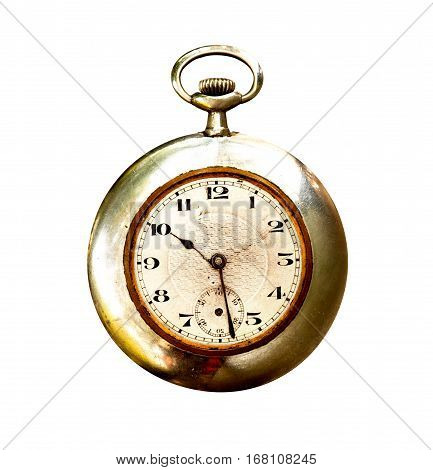 Old and used pocket clock om white background