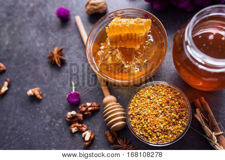 healthy honeycomb, pollen, propolis, honey on the table top view