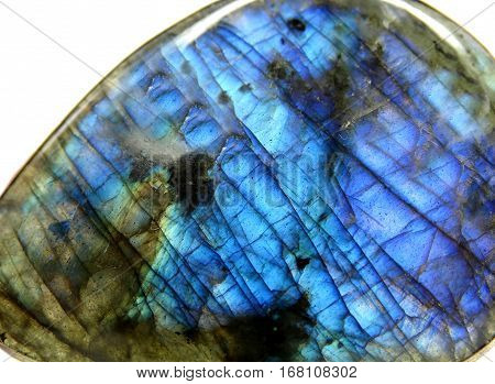 labradore geological crystal semigem blue mineral isolated