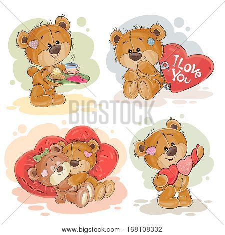 Set of vector clip art illustrations of enamored teddy bears. Print for Valentines