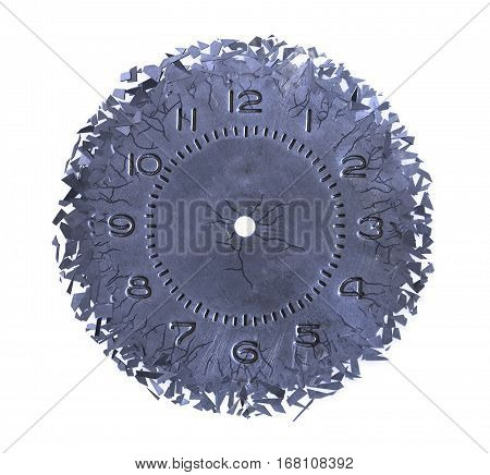 Breaking apart of the old clock face on white background