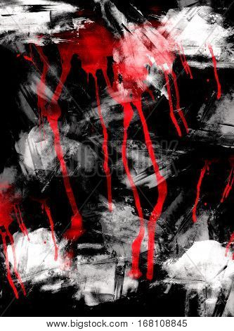 Abstract Luminous Red And White Colors, Black Background