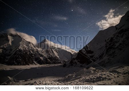 View of Khan-Tengri peak in the night from base camp