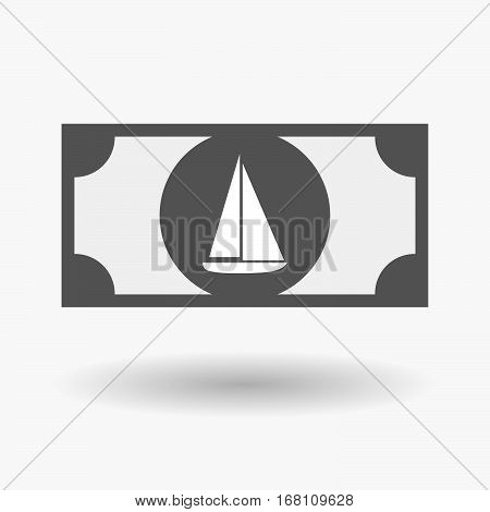 Isolated  Bank Note With A Ship