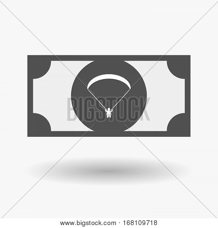 Isolated  Bank Note With A Paraglider