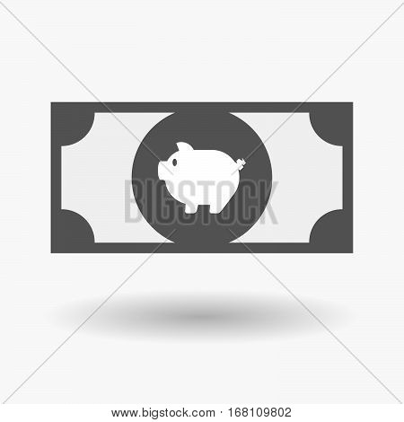 Isolated  Bank Note With A Pig