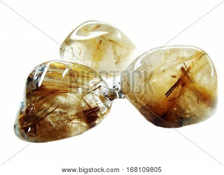 rutilated quartz semigem crystals geological mineral isolated