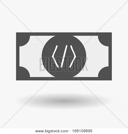 Isolated  Bank Note With A Code Sign