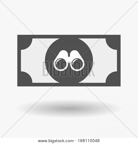 Isolated  Bank Note With A Binoculars
