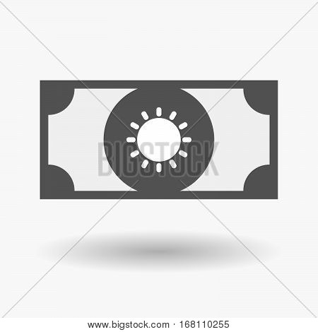 Isolated  Bank Note With A Sun
