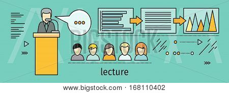Lecture horizontal vector concept in flat style. Self development, personal qualifying training. Illustration for educational companies, career courses advertising, web page design