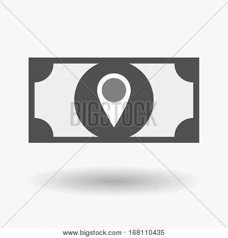 Isolated  Bank Note With A Map Mark