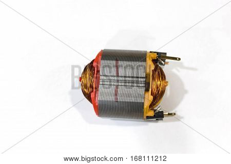 Copper Coil Of Electrical Motor Isolated On White