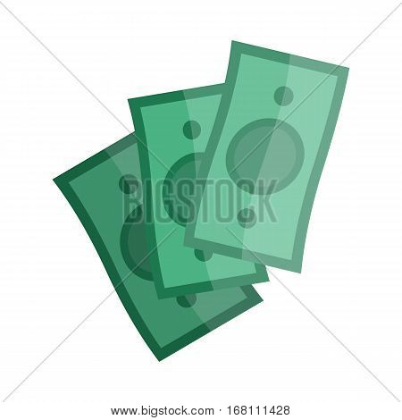 Casino green money isolated on white. Flying paper notes. Virtual banknotes. Vector icons, hand-drawn. Pay concept print. Gambling luck, fortune and bet, risk and leisure, jackpot chances. Flat style