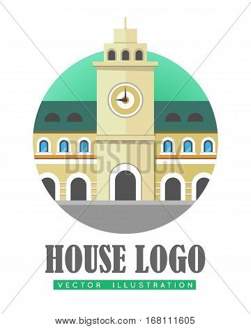 House logo vector illustration web button icon sign symbol. Building with clock. Three storey building with windows in arc form. Tower with big clock in center of building. Flat style logo in circle