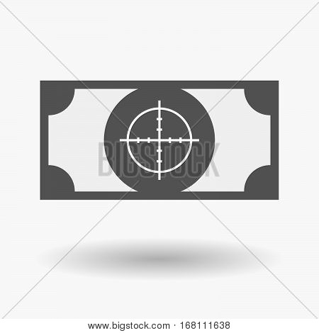 Isolated  Bank Note With A Crosshair