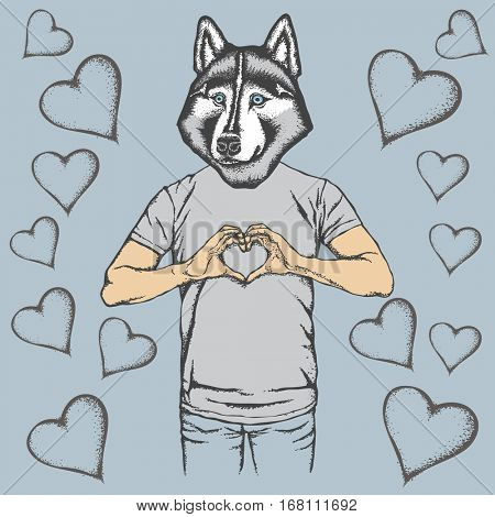 Dog Valentine day vector concept. Illustration of dog head on human body. Husky showing heart shape