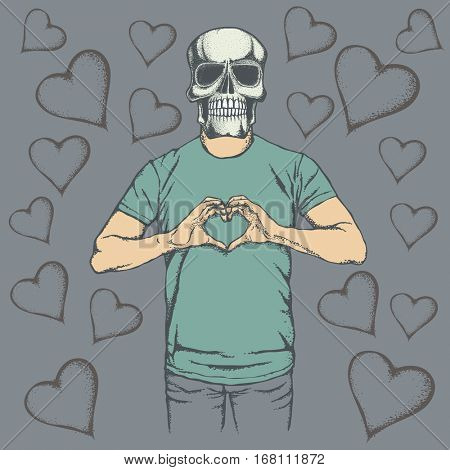 Skull Valentine day vector concept. Illustration of scull head on human body. Skull showing heart shape