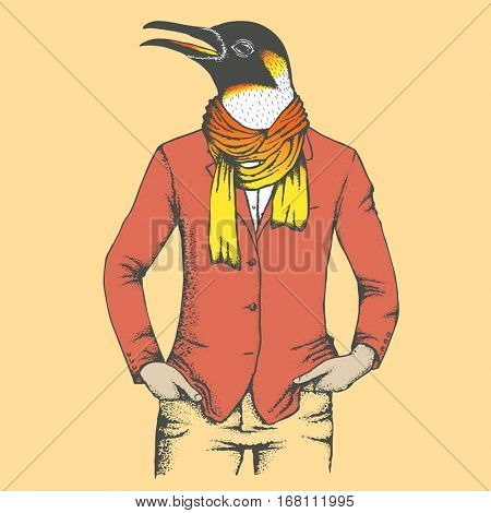 Penguin vector illustration in human suit