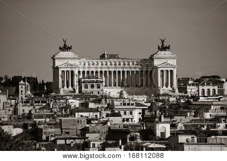 Monumento Nazionale a Vittorio Emanuele II as the famouse landmark historic architecture in Rome Italy in black and white