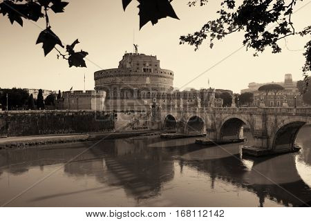 Castel Sant Angelo and bridge over River Tiber in Rome, Italy, monochrome.