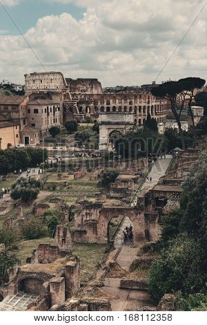 Rome Forum with Colosseum. Italy.
