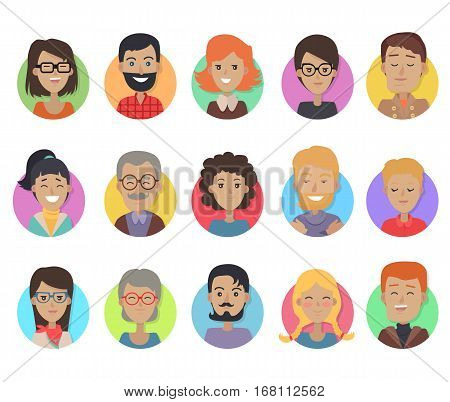 Set of icons with smiling people of different age and sex on white background. Icons of men and women in colored circles. Men with beards and mustache. Men and women in glasses. Vector illustration.