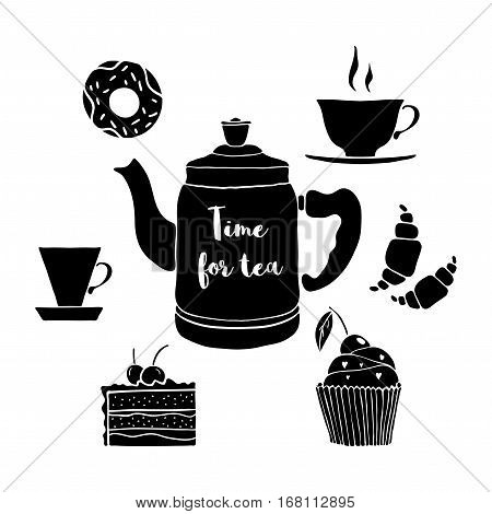 Vector illustration with cups, cake, cupcake, donut, croissants, tea pot. Hand drawn drinks and dessert with a phrase Time for tea.