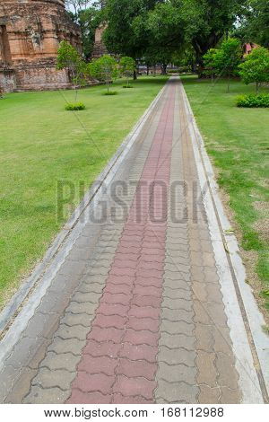 many color footpaths block walkway in temple