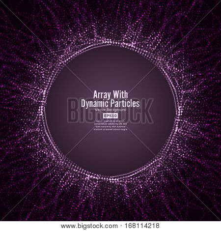 Array Vector With Dynamic Particles. Round Dots Array And Lines. Graphic Abstract Background With Lighting Effect